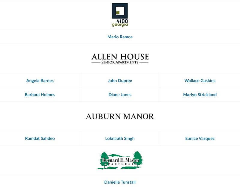 Allen House and Auburn Manor employees