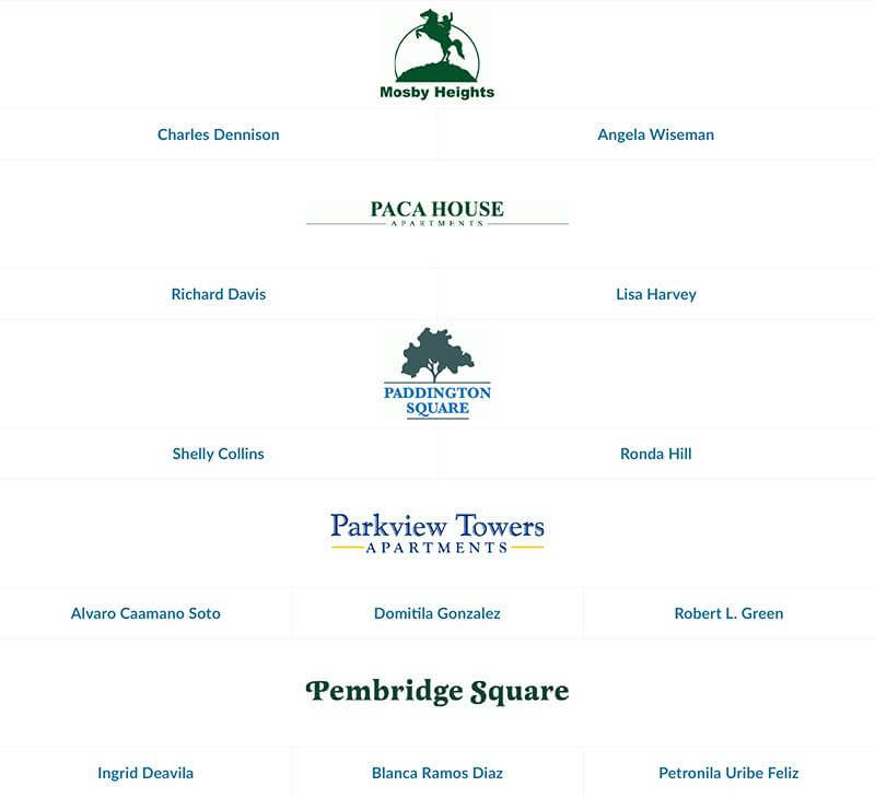 Mosby Heights, Paca House, Paddington Square, Parkview Towers, and Pembridge Square employees