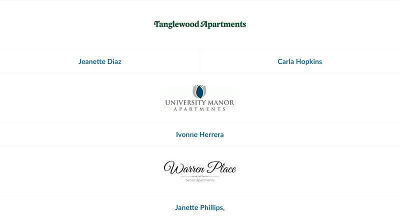 Tanglewood Apartments, University Manor, and Warren Place employees